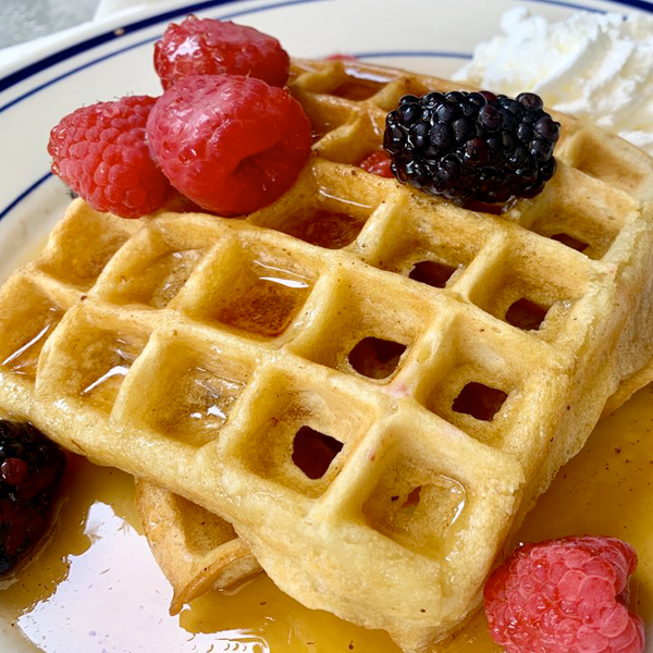 Bainbridge Island Eat Restaurants - Pegasus Coffee House Waffle Fruit Syrup