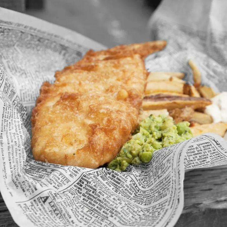 Bainbridge Island Eat Restaurants - Proper Fish Chips Mushy Peas