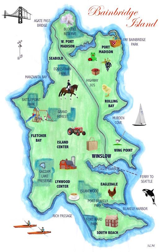 Bainbridge Island Map Activities Commercial Centers